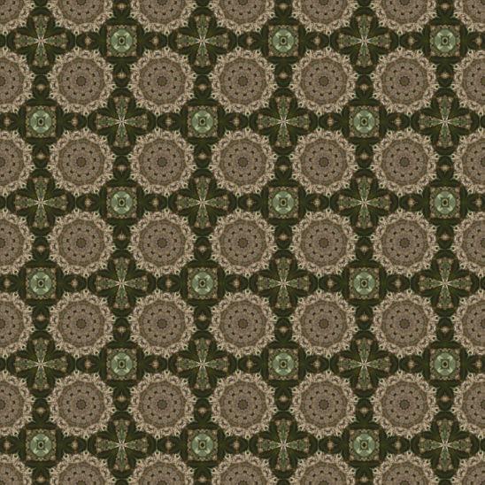 深い緑色の四角と丸の模様
